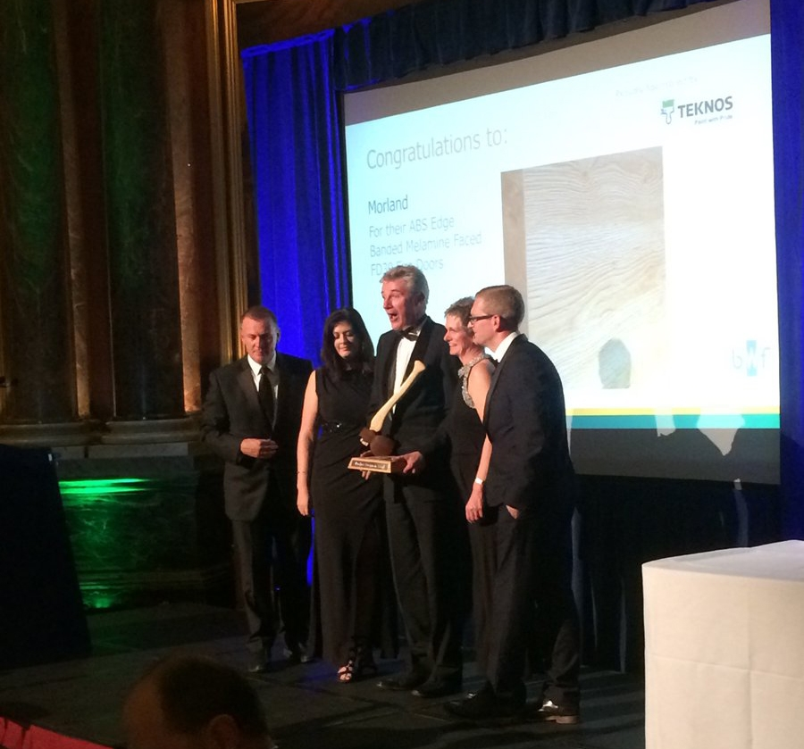 Morland Commercial Director Andrew Warren accepts the BWF Product Design in Wood Award 2017